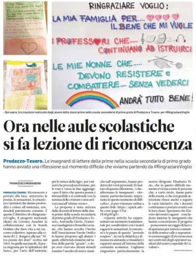 """Articolo del giornale """"Trentino"""" su #RingraziareVoglio"""